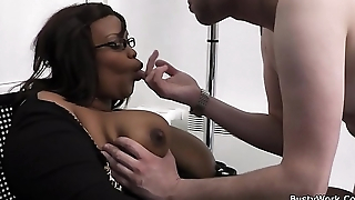 Office sex with big boobs ebony woman