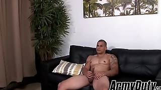 Army close off Rico shows off muscles and strokes big dick