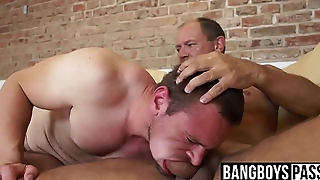 Hairy jock choking on old dick before rough bareback
