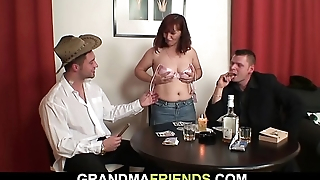 Redhead old mature double-fucked after index card game