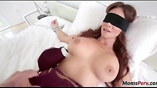 Perv son fucks mom'_s mouth when shes blindfolded!