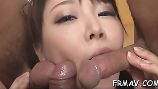 Bewitching japanese takes on several lop male cocks